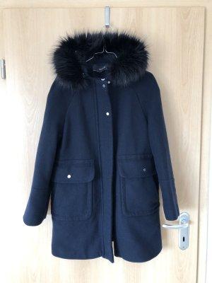 Zara Basic Duffle-coat bleu foncé-noir