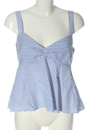 Zara Basic Haut taille empire blanc-bleu motif rayé style décontracté