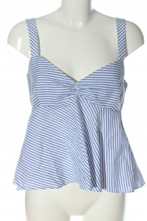 Zara Basic Empire Waist Top white-blue striped pattern casual look