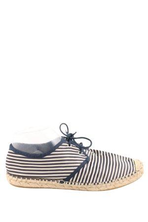 Zara Basic Espadrilles-Sandalen wollweiß-blau Streifenmuster Casual-Look
