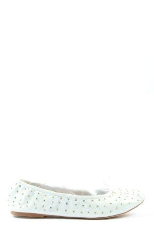 Zara Basic faltbare Ballerinas weiß-goldfarben Casual-Look