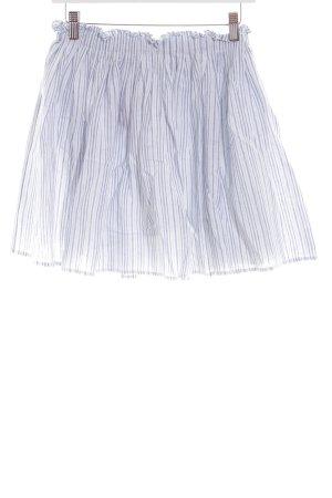 Zara Basic Faltenrock weiß-blau Allover-Druck Casual-Look