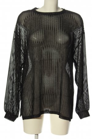 Zara Basic Feinstrickpullover schwarz Casual-Look