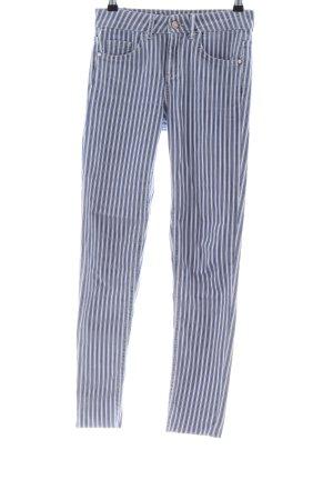 Zara Basic Five-Pocket-Hose blau-weiß Streifenmuster Casual-Look