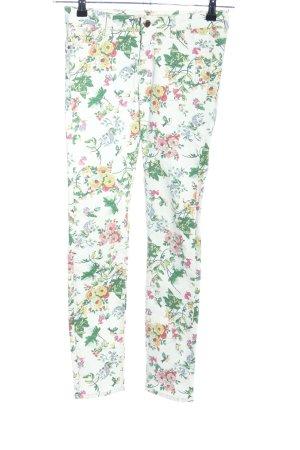 Zara Basic Five-Pocket Trousers flower pattern casual look