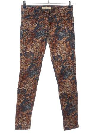 Zara Basic Five-Pocket-Hose blau-hellorange Allover-Druck extravaganter Stil
