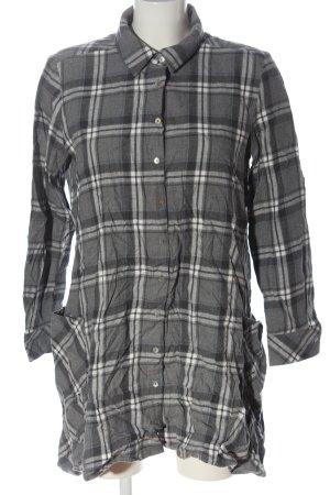 Zara Basic Flannel Shirt light grey-white allover print casual look