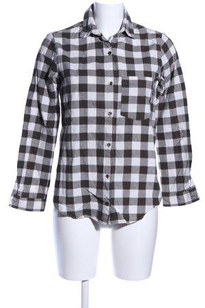 Zara Basic Flanellhemd schwarz-weiß Karomuster Casual-Look