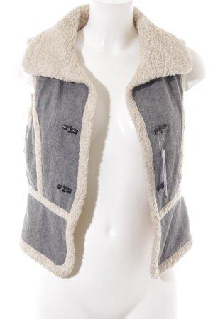 Zara Basic Fleeceweste grau-creme Kuschel-Optik