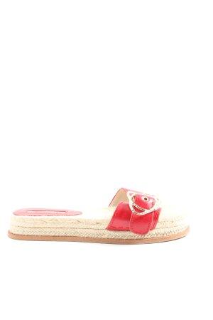 Zara Basic Chanclas rojo-blanco puro look casual