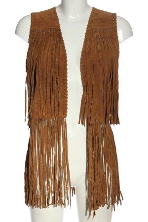 Zara Basic Fringed Vest brown casual look