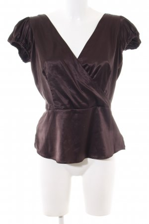 Zara Basic Glanzbluse braun Business-Look