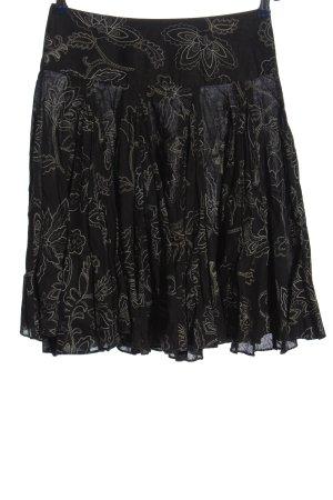 Zara Basic Glockenrock schwarz-hellgrau Blumenmuster Casual-Look