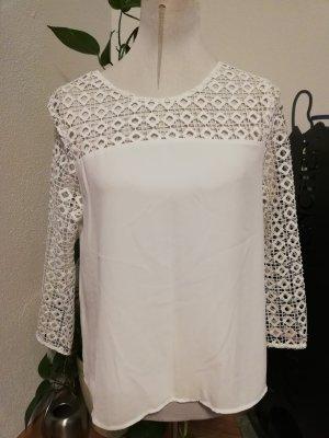 Zara Basic Top de ganchillo blanco