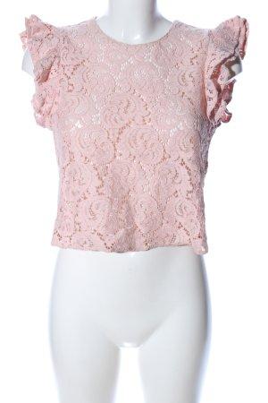 Zara Basic Crochet Shirt pink flower pattern casual look