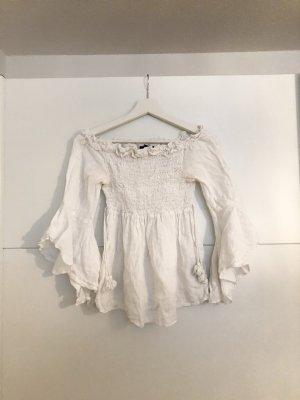 Zara Basic Off-The-Shoulder Top white