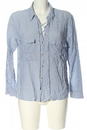 Zara Basic Hemd-Bluse blau-weiß Streifenmuster Elegant