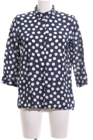 Zara Basic Hemd-Bluse weiß-schwarz Allover-Druck Casual-Look