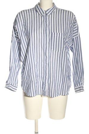 Zara Basic Hemd-Bluse weiß-blau Streifenmuster Casual-Look