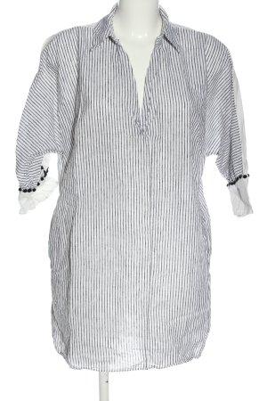 Zara Basic Hemd-Bluse weiß-schwarz Streifenmuster Casual-Look