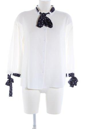Zara Basic Hemd-Bluse weiß-schwarz Punktemuster Casual-Look