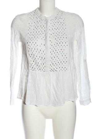 Zara Basic Hemd-Bluse weiß-bronzefarben Allover-Druck Casual-Look