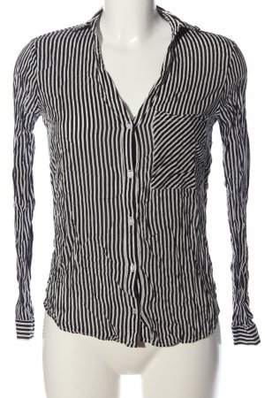 Zara Basic Hemd-Bluse schwarz-weiß Allover-Druck Business-Look