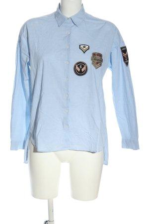 Zara Basic Hemd-Bluse blau Motivdruck Casual-Look