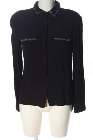 Zara Basic Hemd-Bluse schwarz Business-Look