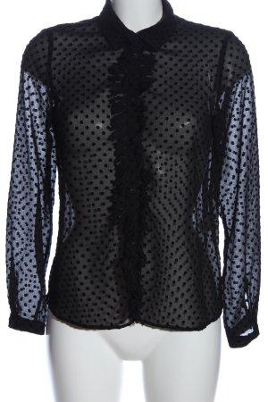 Zara Basic Hemd-Bluse schwarz Allover-Druck Casual-Look