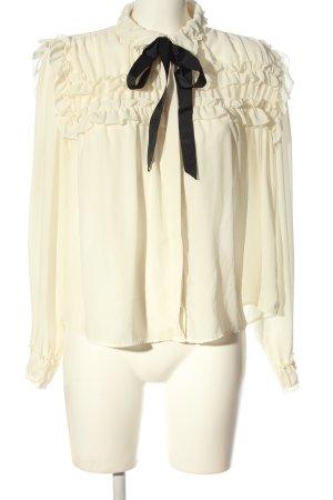Zara Basic Hemd-Bluse creme-schwarz Casual-Look