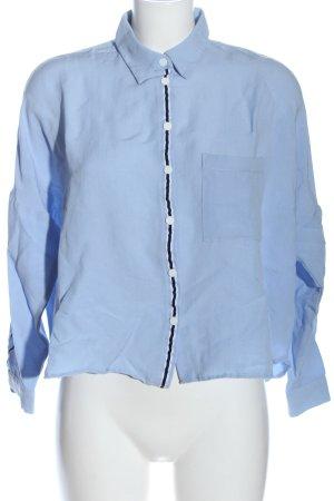 Zara Basic Hemd-Bluse blau Casual-Look