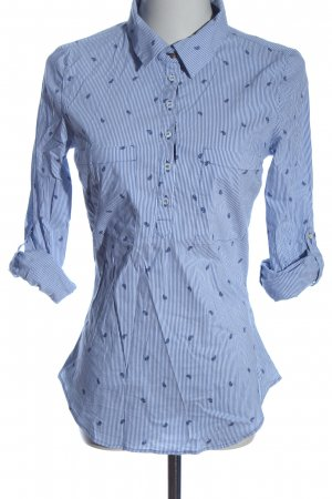 Zara Basic Hemd-Bluse weiß-blau Allover-Druck Casual-Look