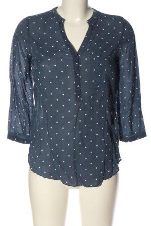 Zara Basic Hemd-Bluse blau-weiß Allover-Druck Casual-Look