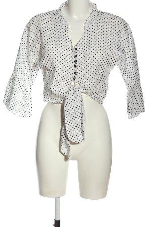 Zara Basic Hemd-Bluse weiß-schwarz Punktemuster Elegant