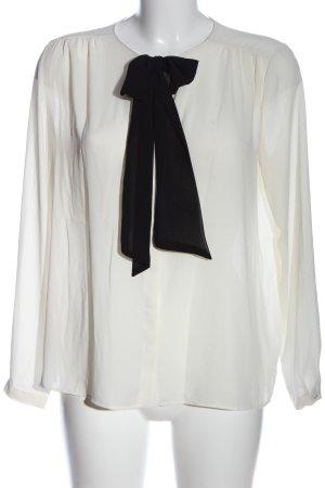Zara Basic Hemd-Bluse wollweiß-schwarz Business-Look