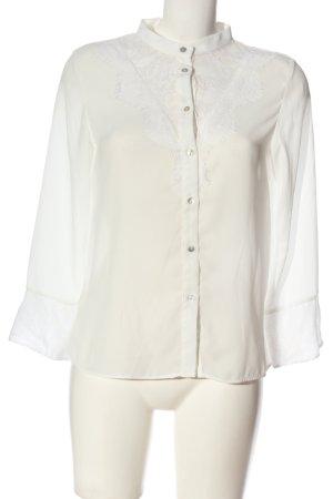 Zara Basic Hemd-Bluse creme-weiß Casual-Look