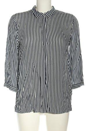 Zara Basic Hemd-Bluse schwarz-weiß Streifenmuster Casual-Look