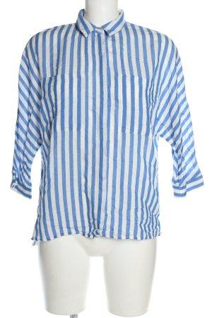 Zara Basic Hemd-Bluse weiß-blau Streifenmuster Business-Look