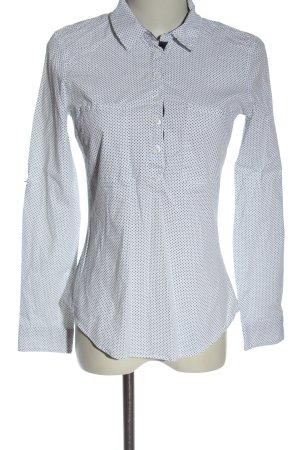 Zara Basic Hemd-Bluse weiß-schwarz Allover-Druck Business-Look