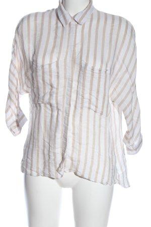 Zara Basic Hemd-Bluse creme-weiß Allover-Druck Casual-Look