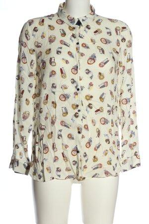 Zara Basic Hemd-Bluse weiß Allover-Druck Business-Look