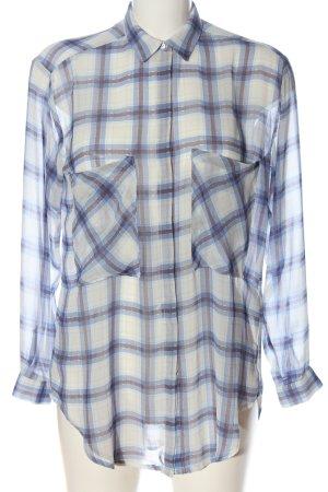 Zara Basic Hemd-Bluse blau-weiß Karomuster Casual-Look
