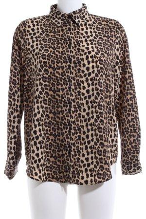 Zara Basic Hemd-Bluse bronzefarben Allover-Druck Elegant