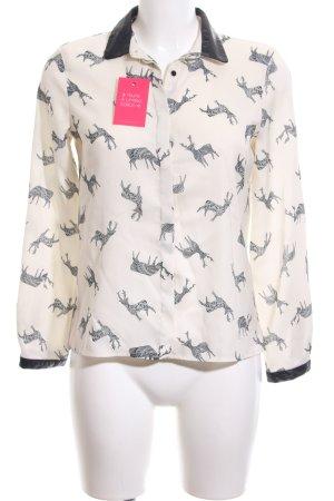 Zara Basic Hemd-Bluse schwarz-creme Allover-Druck Casual-Look