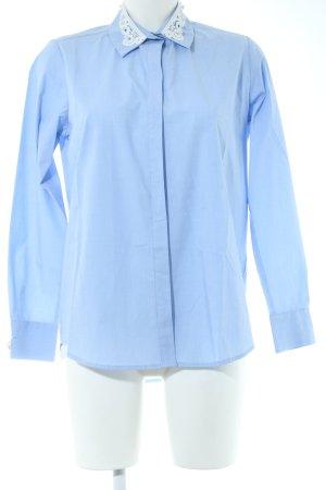Zara Basic Hemd-Bluse weiß-blau Business-Look