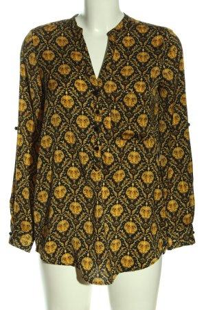 Zara Basic Hemd-Bluse schwarz-blassgelb abstraktes Muster Casual-Look