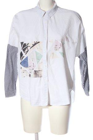 Zara Basic Hemd-Bluse weiß-hellgrau Motivdruck Business-Look
