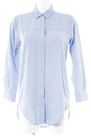Zara Basic Hemd-Bluse himmelblau meliert Casual-Look