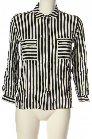 Zara Basic Hemd-Bluse schwarz-weiß Streifenmuster Business-Look